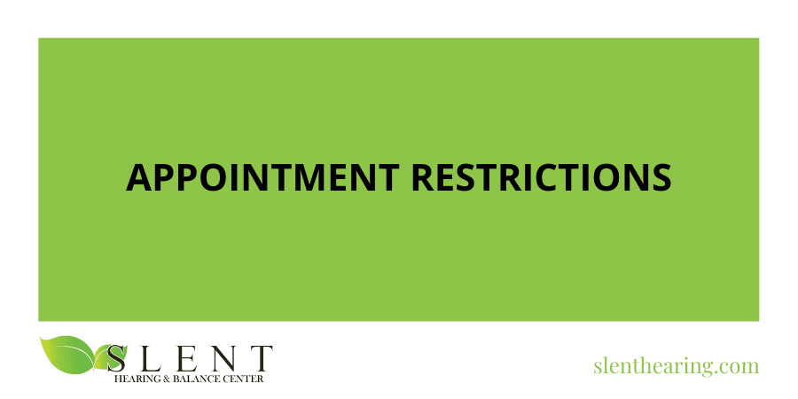 Appointment Restrictions for 30 Days [COVID-19 Announcement]